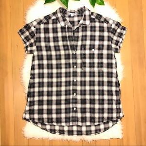 James Perse Plaid Short Sleeved Button Up